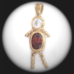 CZ-2- January Boy Garnet Birthstone Baby Pendant