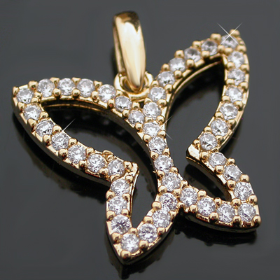 CZP-338 Open BUTTERFLY Created Diamond Charm|Pendant