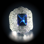 A-12719 Created Sapphire & Diamond White Gold ep Ring