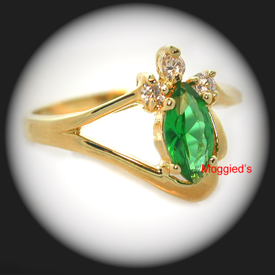 LR-34d - Created Emerald & Diamond Ring