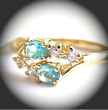 BSR-3 March Aquamarine Birthstone Ladies Ring