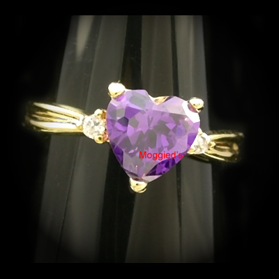 LR-1f-7mm Heart Cut Created Amethyst Solitaire Ring