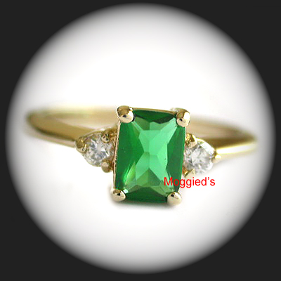 LR-29 - Created Emerald & Diamond Ring