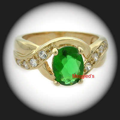 LR-33b - Created Emerald & Diamond Ring