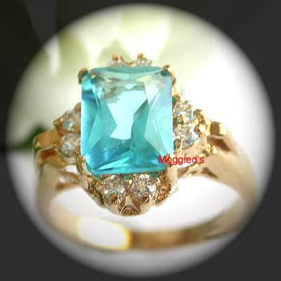 LR-48 - Antique Style Created Aquamarine Ring
