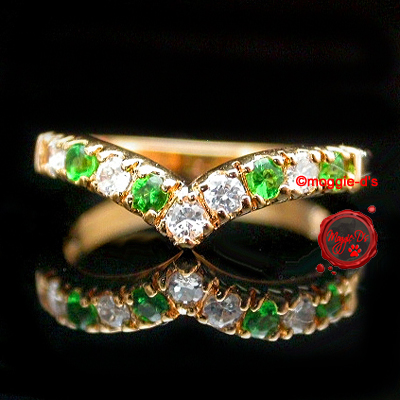LR-8d- Ladies Emerald & Created Diamond Anniversary Ring