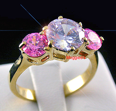 LR-141 - Pink & Lilac Created Diamond Eternity Ring