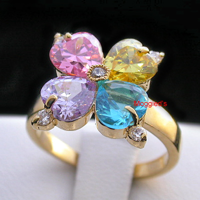 LR-143 - Multi Colour Heart Flower Ring