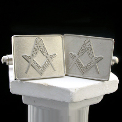 MAS#8 - Satin & Polished 14k White Gold Masonic Cufflinks