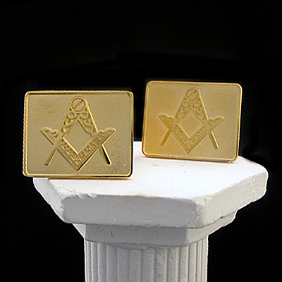 MAS#7 - Satin & Polished 14k Yellow Gold Masonic Cufflinks