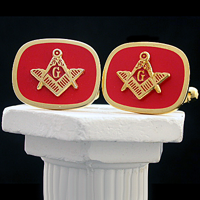 MAS#2 - Red Enamel Masonic Cufflinks