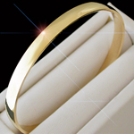 BNB-400 - 6mm Wide Solid Highly Polished 14k Yellow Gold Bangle