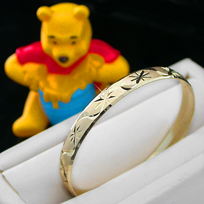 BNB-455  Kids|Baby 6mm Gold GL Bangle | SZ 1 0-9mths