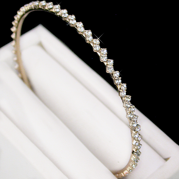 BNBC-2 -3.5mm Crystal 14K Gold EP Bangle