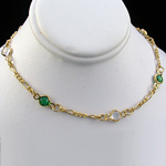 N-103a - Green & White Crystal Link Necklace