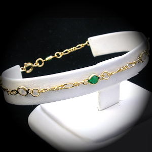 A-103a - Green & White Crystal Link Anklet