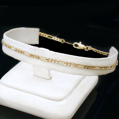 A-10a 2mm Italian Cut Figaro Link Anklet
