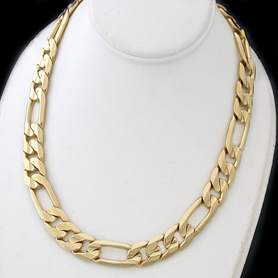 N-10e 10mm Italian Cut Figaro Link Necklace