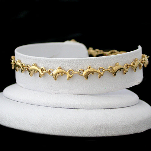 A-119 3D Dolphin Shaped 14k Gold Layered Link Anklet