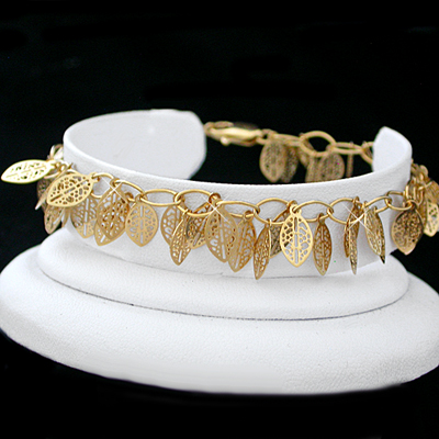 A-124 Dangling Filigree Leaf Link 14k Gold GL Anklet