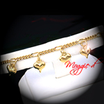 A-150 - Dangling Puffed Heart Charm Link Anklet