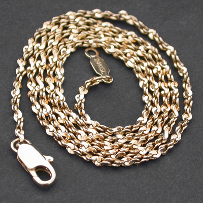 N-29- 2mm TWISTED NUGGET Link 14k Gold GL Necklace
