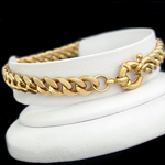 B-33d 7mm Curb Link 14K Gold Layered bracelet BOLT RING CLASP