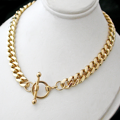N-33d 7mm Curb Link Necklace with FOB Clasp