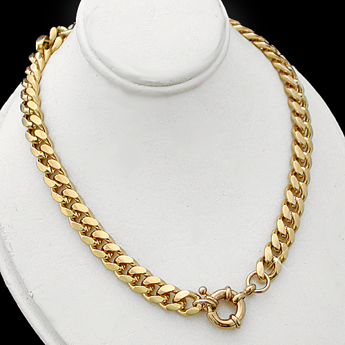N-33d 7mm Curb Link Necklace with Bolt Ring Clasp