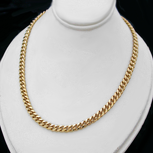 N-33g 4mm Round Curb Link 14k Gold Layered Necklace