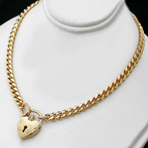 N-33g 4mm Curb Link Necklace with Solid Heart Locket Clasp