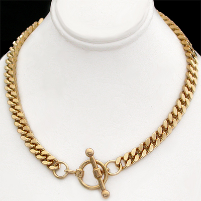 N-33a 5mm Square Curb Link Necklace with FOB Clasp