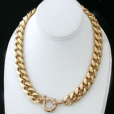 N-34d 11mm Curb Link BOLT Ring clasp 14k Gold GL Necklace