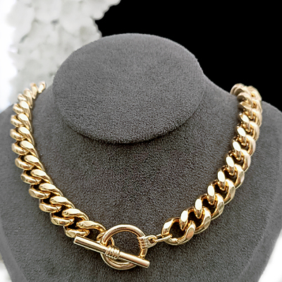 N-34d 11mm Curb Link FOB clasp 14k Gold GL Necklace