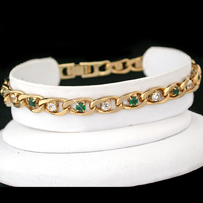 B-43c GREEN & WHITE Created DIAMOND CURB LINK 14k Gold Bracelet