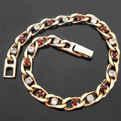 B-43d RUBY RED & WHITE Simulated DIAMOND CURB LINK 14k Bracelet