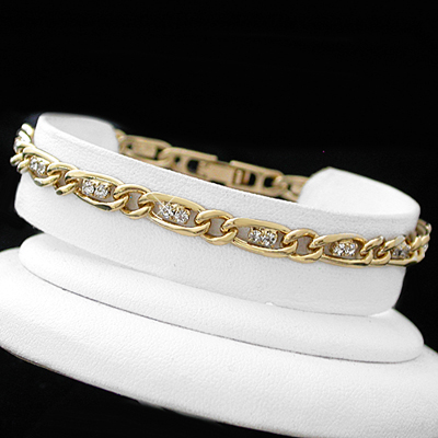 B-43f 5mm Created Diamond & CURB link 14k GOLD GL Bracelet