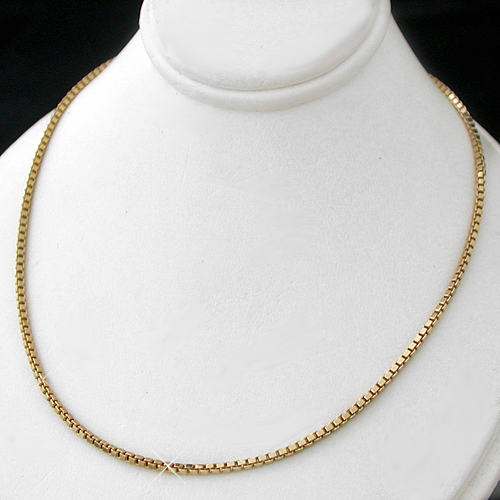 N-53a 1mm Square Box Link 14k Gold GL Necklace