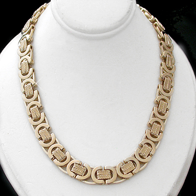 N-60 9mm Byzantium Link 14k Gold Layered Necklace