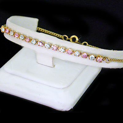 A-77pw Pink & White 3mm Austrian Crystal 14k GOLD GL Anklet