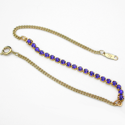A-77brb Bright Royal Blue 2mm Crystal 14k GOLD GL Anklet