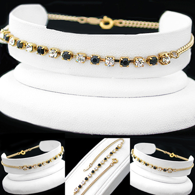 A-77bw BLACK & WHITE 3mm Austrian Crystal 14k GOLD GL Anklet