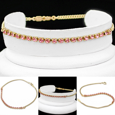 A-77RO ROSE PINK 2mm Crystal 14k GOLD GL Anklet