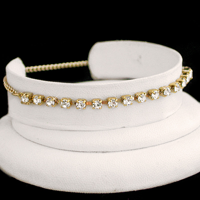 A-77a White 3mm Austrian Crystal Tennis 14k GOLD GL Anklet