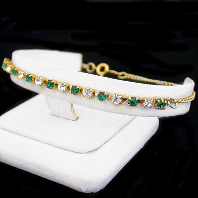 A-77g Emerald Green & White 3mm Austrian Crystal 14k GL Anklet