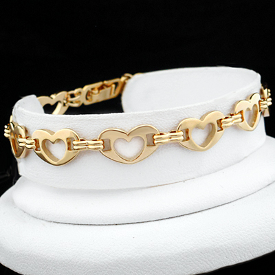 A-96b 8mm Puffed Open HEART LOVE Link Anklet