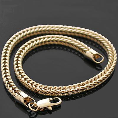 B-97g 3.5mm FRANCO Square Box Cuban Link 14K Gold GL Bracelet