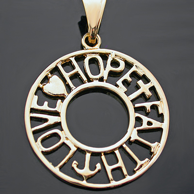 CC-111 FAITH HOPE LOVE Word Charm Pendant