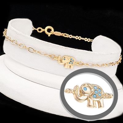 PH-E124 14k Gold EP ELEPHANT Turquoise CZ Charm Link Anklet