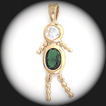 CZ-10- May BOY Emerald Birthstone Baby Pendant